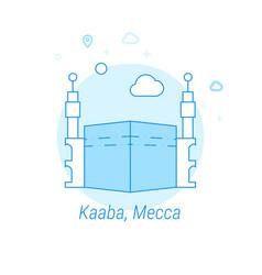 Kaaba mecca saudi arabia flat icon light blue vector