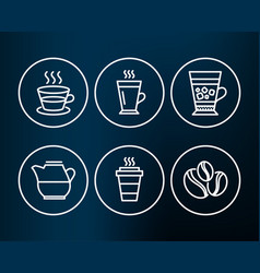 Latte coffee cup and frappe icons takeaway milk vector