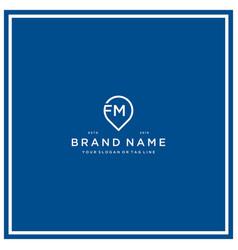 Letter fm pin logo design vector