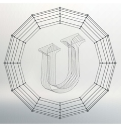 letter U Fonts of Mesh vector image