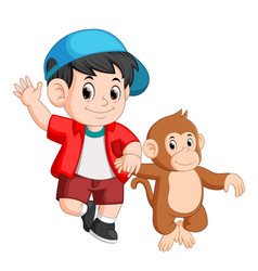 little boy is walking with a monkey vector image