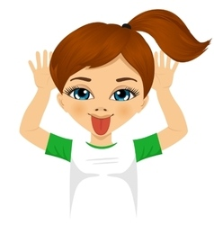 Little girl making mocking expression with hands vector