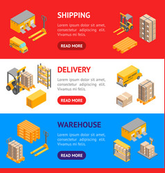 logistic delivery service banner horizontal set vector image