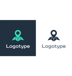 Logotype placeholder on map paper in perspective vector
