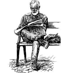Man reads a newspaper vector