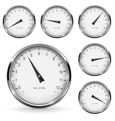 Manometer round gauges with metal frame vector