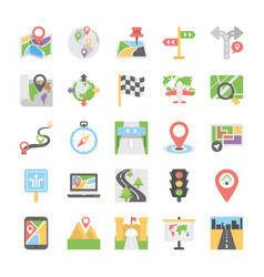 maps and navigation flat icons set vector image
