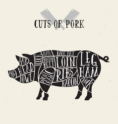 Meat cuts - pork diagrams for butcher shop vector