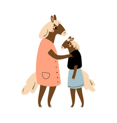 mother horse and her daughter loving parent vector image