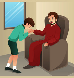 Muslim boy kissing his father hand vector