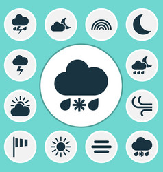 Nature icons set collection of moon lightning vector