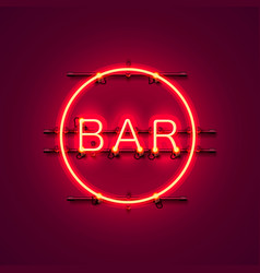 neon bar signboard city color red vector image