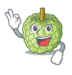 Okay character custard apple tropical fruit vector
