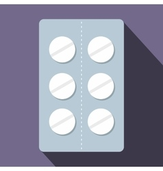 Pills in blister pack icon flat style vector