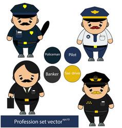 professions set policeman pilot banker taxi vector image