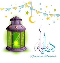 Ramadan mubarak greeting with illuminated lamp vector