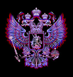 Russian coat of arms on a black background in vector