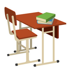 school desk with school supplies icon and logo vector image
