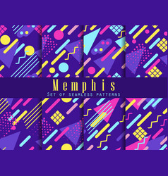 seamless geometric patterns of memphis style vector image
