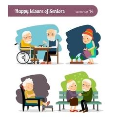 Seniors happy leisure vector
