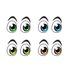set of cartoon character eyes isolated on white vector image