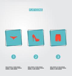 set of dress icons flat style symbols with shorts vector image