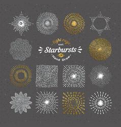 Set of handmade sunburst design elements vector