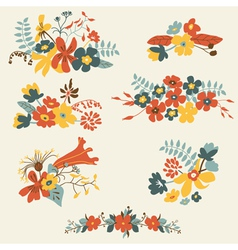 Set of seven cute floral bouquets bunch vector