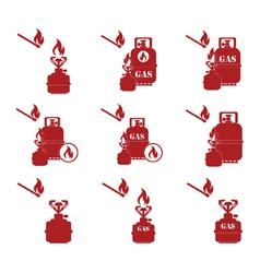 Set of tourist coocking equipment icons vector
