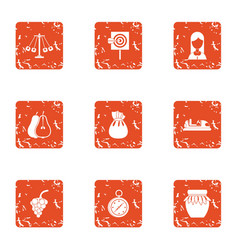 Solemn icons set grunge style vector
