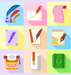 Stuff for writer icons set cartoon style vector