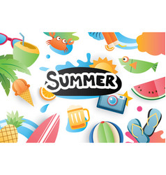 Summer cute symbol icon elements for beach party vector