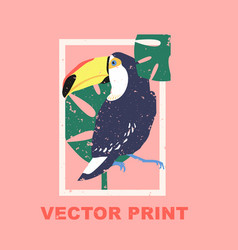 Summertime print with the toucan vector