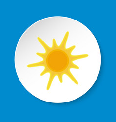 Sun icon in flat style on round button vector