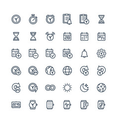 thin line icons set with date and time vector image