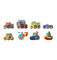 toys vehicles mini transport cars boats airplanes vector image