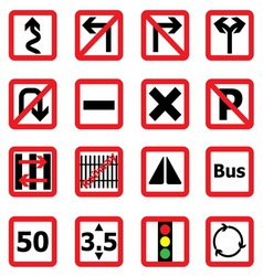Traffic sign icons in square shape vector image