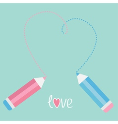 Two pencils drawing big dash heart Love card vector image