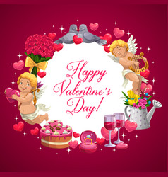 Valentines day hearts cupid angels and birds vector