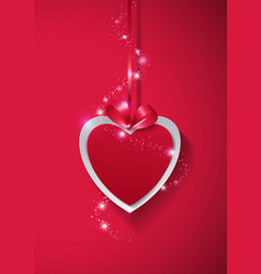 Valentines Day Paper Heart with Lights on Pink vector image