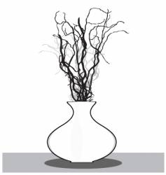 vase with twigs vector image
