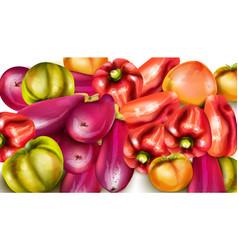 vegetables banner eggplant pepper yellow vector image