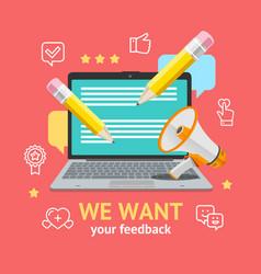 we want feedback concept vector image