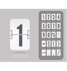 White analog flip airport board countdown timer vector