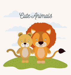 White background with color scene couple cute lion vector