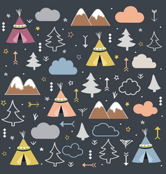 Wild and free teepees trees cloud pattern vector