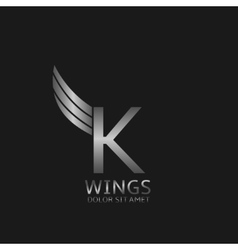 Wings K letter vector image