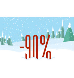 winter forest landscapesnowy sky red percent on vector image