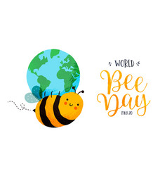 world bee day cute planet earth cartoon banner vector image