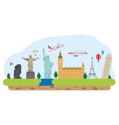 world monuments and travel vector image